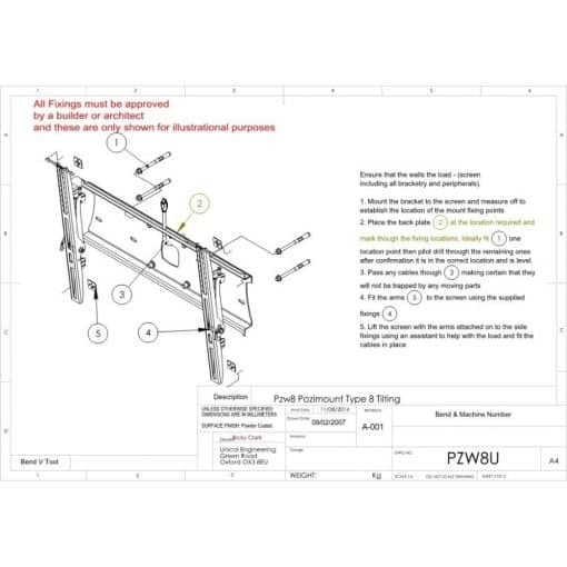 Additional Images For Unicol Pzw8u Tilting Univeral Wall Mount 1