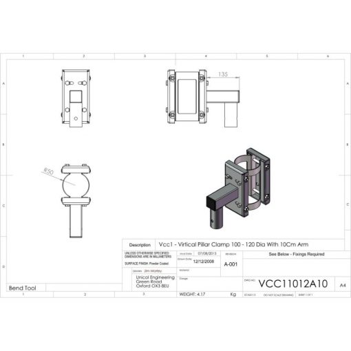 Additional Images For Unicol Vcc11012a10 Vertical Pillar Clamp 100 120mm Diameter