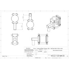 Unicol VCC11214A10 Vertical Pillar Clamp 120 - 140mm Diameter