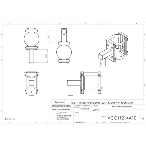 Additional Images For Unicol Vcc11214a10 Vertical Pillar Clamp 120 140mm Diameter