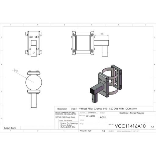 Additional Images For Unicol Vcc11416a10 Vertical Pillar Clamp 140 160mm Diameter