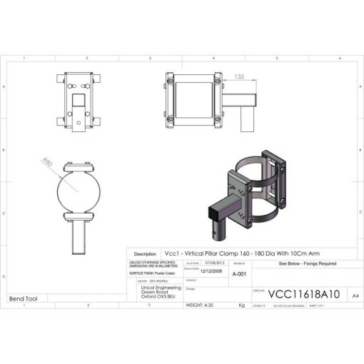 Additional Images For Unicol Vcc11618a10 Vertical Pillar Clamp 160 180mm Diameter