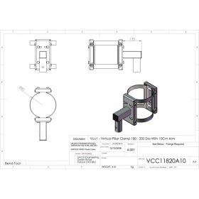 Unicol VCC11820A10 Vertical Pillar Clamp 180 - 200mm Diameter