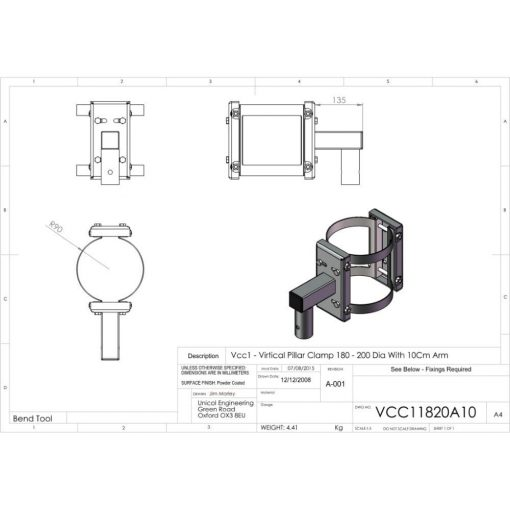 Additional Images For Unicol Vcc11820a10 Vertical Pillar Clamp 180 200mm Diameter
