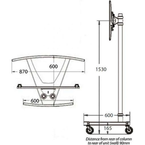 Dimensions Technical Drawing For Unicol VS1000 Trolley