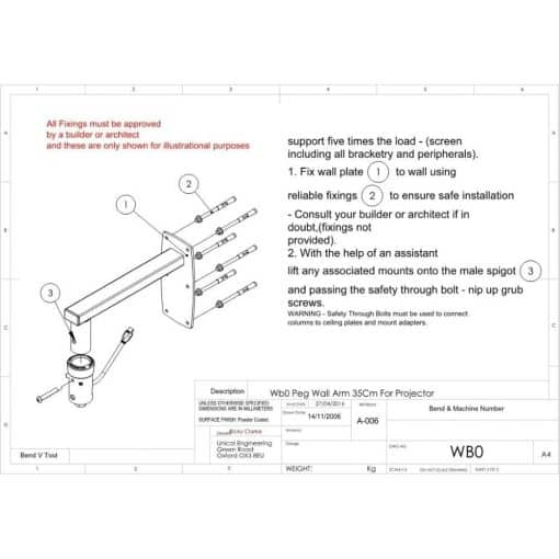Additional Images For Unicol Wb0 Peg Wall Arm For Projector 1
