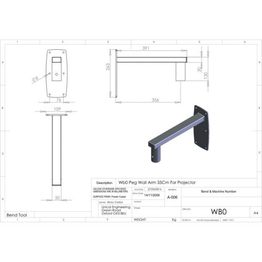 Additional Images For Unicol Wb0 Peg Wall Arm For Projector