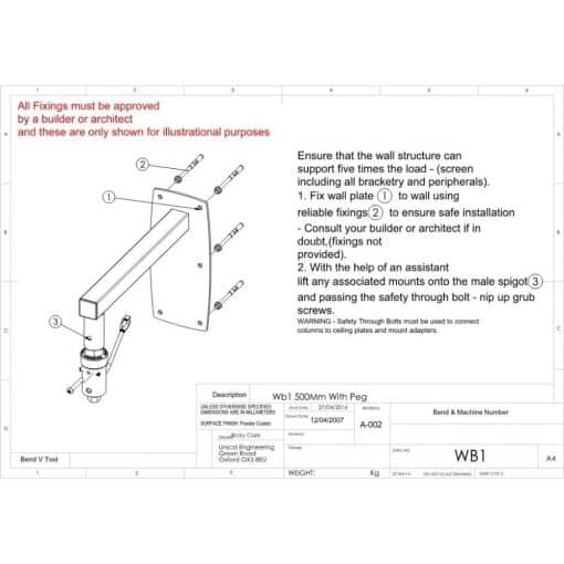 Additional Images For Unicol Wb1 Peg Wall Arm 46cm 1