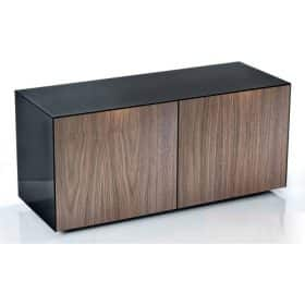 Frank Olsen INTEL1100BLK-WAL 1100mm 110cm Black TV Cabinet Walnut Doors
