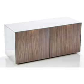 Frank Olsen INTEL1100WHT-WAL 1100mm 110cm White TV Cabinet Walnut Doors