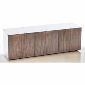 Frank Olsen INTEL1500WHT-WAL 1500mm 150cm White TV Cabinet Walnut Doors