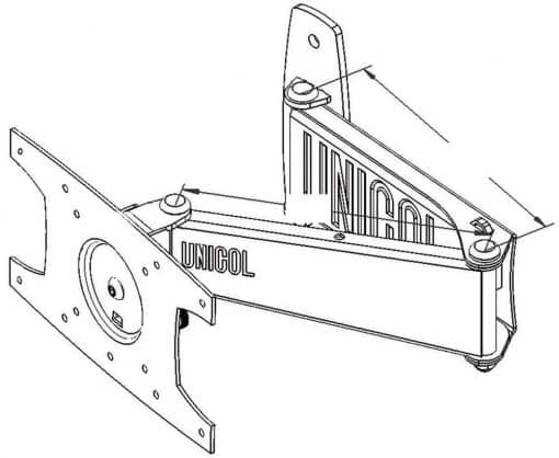 Dimensions Technical Drawing For Unicol Ssv Large Vesa Mount Double SWing LCD Arm
