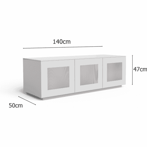 Dimensions Technical Drawing For Frank Olsen Chic140wht Chic Hi Gloss White 140 Cm TV Cabinet