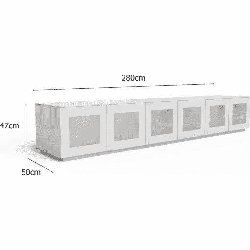 Dimensions Technical Drawing For Frank Olsen Chic280wht Chic Gloss White 280 Cm Wide TV Unit Modular System