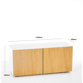 Frank Olsen Furniture INTEL1100WHT-OAKV 1100 White TV Cabinet Oak Veneer Doors