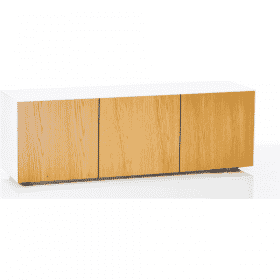 Frank Olsen Furniture INTEL1500WHT-OAKV White 1500 TV Cabinet Oak Veneer Doors