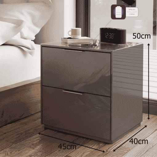 Dimensions Technical Drawing For Frank Olsen Intel Bed Gry Grey Gloss Bedside Cabinet Wireless Charging