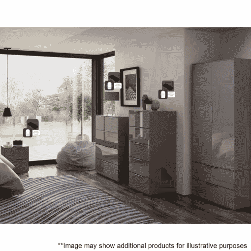 Lifestyle Home Setting Images For Frank Olsen Intel Bed Gry Grey Gloss Bedside Cabinet Wireless Charging
