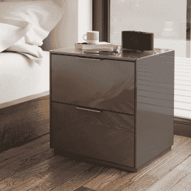 Frank Olsen INTEL PURE BED GRY Grey Gloss Bedside Cabinet Wireless Charging