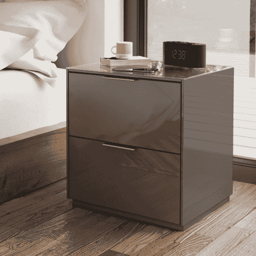 Main Image For Frank Olsen Intel Bed Gry Grey Gloss Bedside Cabinet Wireless Charging