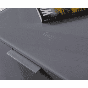 Additional Images For Frank Olsen Intel Bed Gry Grey Gloss Bedside Cabinet Wireless Charging