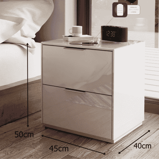 Dimensions Technical Drawing For Frank Olsen Intel Bed Wht White Gloss Bedside Cabinet Wireless Charging