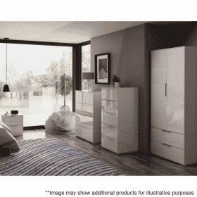 Lifestyle Home Setting Images For Frank Olsen Intel Bed Wht White Gloss Bedside Cabinet Wireless Charging