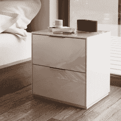 Frank Olsen INTEL PURE BED WHT White Gloss Bedside Cabinet Wireless Charging
