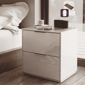 Additional Images For Frank Olsen Intel Bed Wht White Gloss Bedside Cabinet Wireless Charging