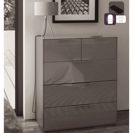 Additional Images For Frank Olsen Intel Large Chest Gry Gloss Grey Large 32 Drawer Chest Wireless Charging