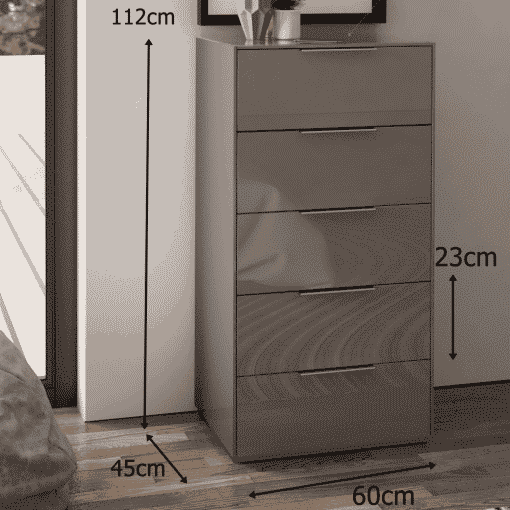 Dimensions Technical Drawing For Frank Olsen Intel Tall Chest Gry Gloss Grey Tall 5 Drawer Chest Wireless Charging