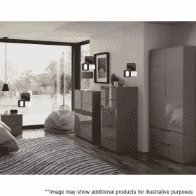 Lifestyle Home Setting Images For Frank Olsen Intel Tall Chest Gry Gloss Grey Tall 5 Drawer Chest Wireless Charging