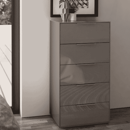 Main Image For Frank Olsen Intel Tall Chest Gry Gloss Grey Tall 5 Drawer Chest Wireless Charging
