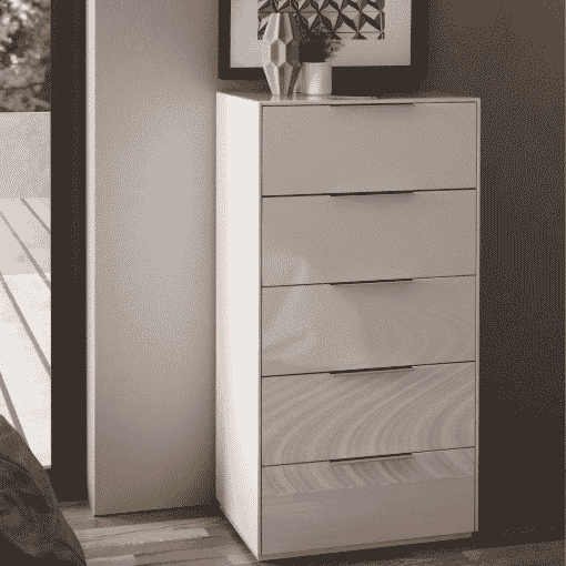 Main Image For Frank Olsen Intel Tall Chest Wht Gloss White Tall 5 Drawer Chest Wireless Charging
