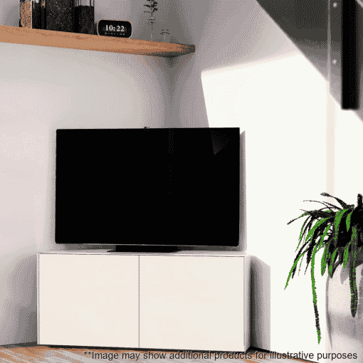Lifestyle Home Setting Images For Frank Olsen Intel1100corner Wht 1100 Corner White TV Cabinet