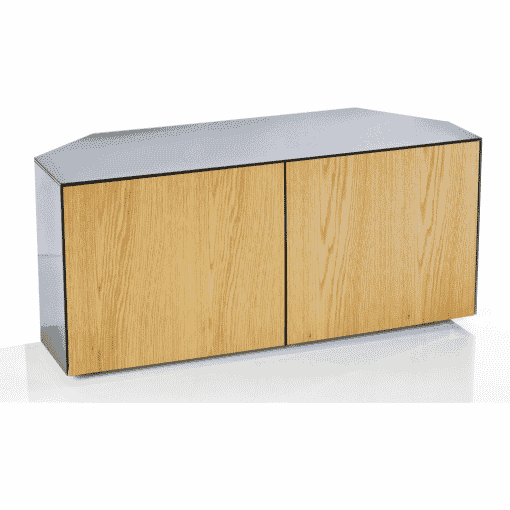Main Image For Frank Olsen Intel1100cornergry Oak 1100 Corner Grey TV Cabinet Oak Veneer Doors