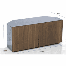 Frank Olsen INTEL1100CORNERGRY-WAL 1100 CORNER Grey TV Cabinet WALNUT Veneer Doors