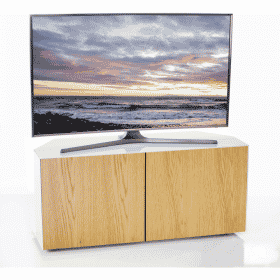 Additional Images For Frank Olsen Intel1100cornerwht Oak 1100 Corner White TV Cabinet Oak Veneer Doors