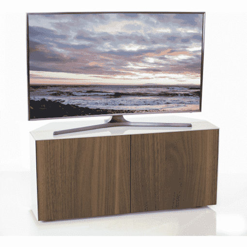 Additional Images For Frank Olsen Intel1100cornerwht Wal 1100 Corner White TV Cabinet Walnut Veneer Doors