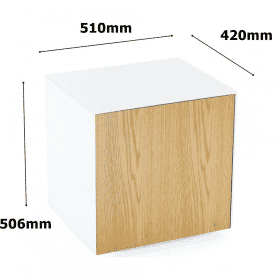 Frank Olsen INTELLAMPWHT-OAKV Lamp Table White With Oak Veneer Doors