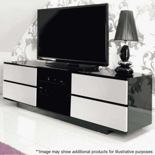Lifestyle Home Setting Images For MDA Designs AVitus 1580 Black White Gloss TV Stand