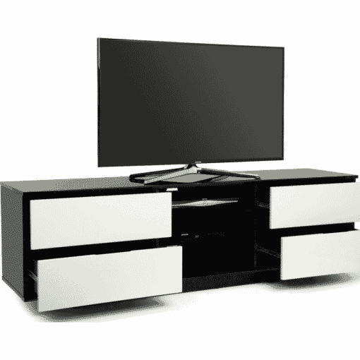 Additional Images For MDA Designs AVitus 1580 Black White Gloss TV Stand