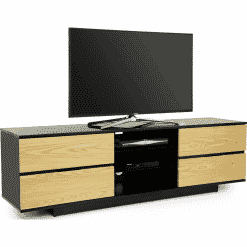 MDA Designs AVITUS 1580 Gloss Black / Oak TV Stand