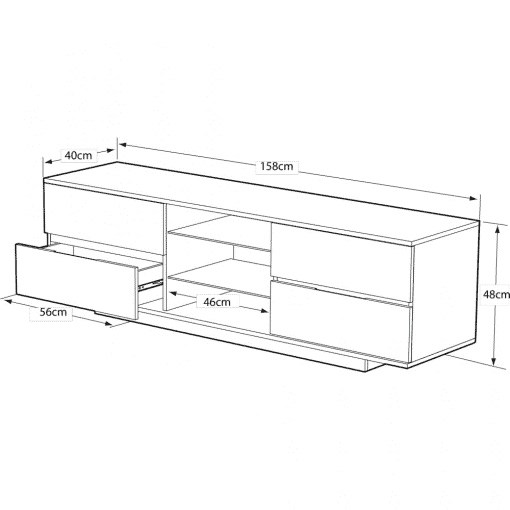 Dimensions Technical Drawing For MDA Designs AVitus 1580 Gloss Black Walnut TV Stand