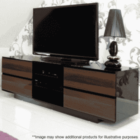 Lifestyle Home Setting Images For MDA Designs AVitus 1580 Gloss Black Walnut TV Stand