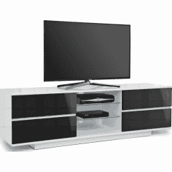 MDA Designs AVITUS 1580 Gloss White / Black TV Stand