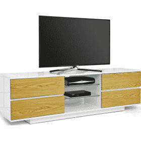 MDA Designs AVITUS 1580 Gloss White / Oak TV Stand