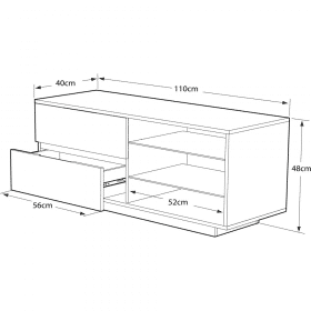 MDA Designs GALLUS 1100 Gloss Black / White TV Stand