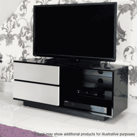 Lifestyle Home Setting Images For MDA Designs Gallus 1100 Gloss Black White TV Stand