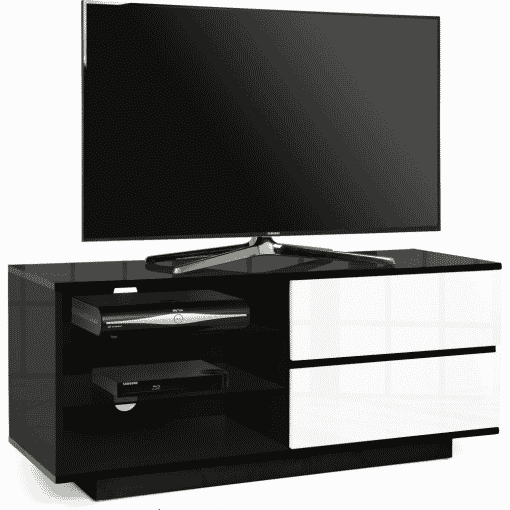 Main Image For MDA Designs Gallus 1100 Gloss Black White TV Stand